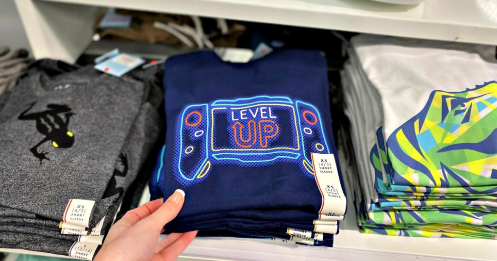 Cat & Jack Boys' Gamer Level Up T-Shirt in hand at store