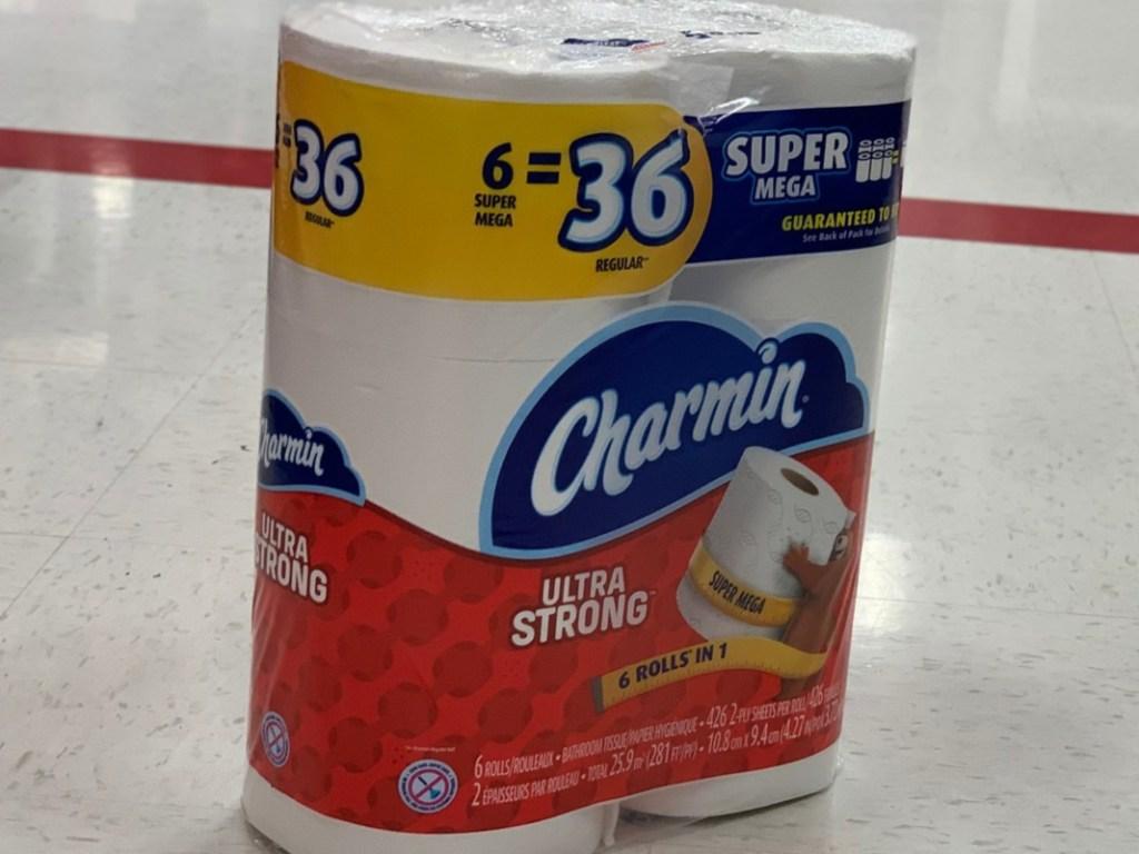 Toilet paper on floor in store
