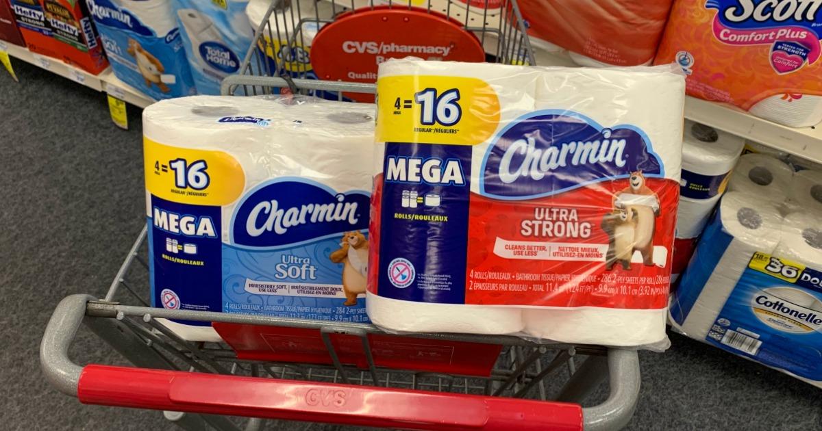 Charmin bath tissue in cart