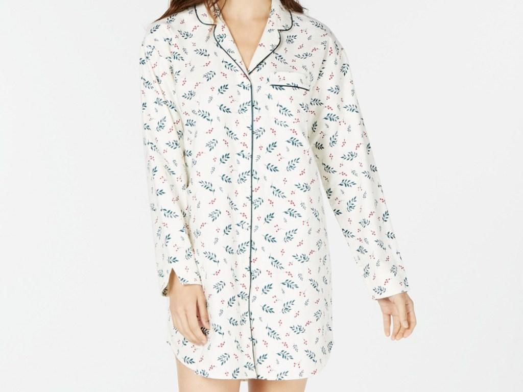 Women's white sleep shirt