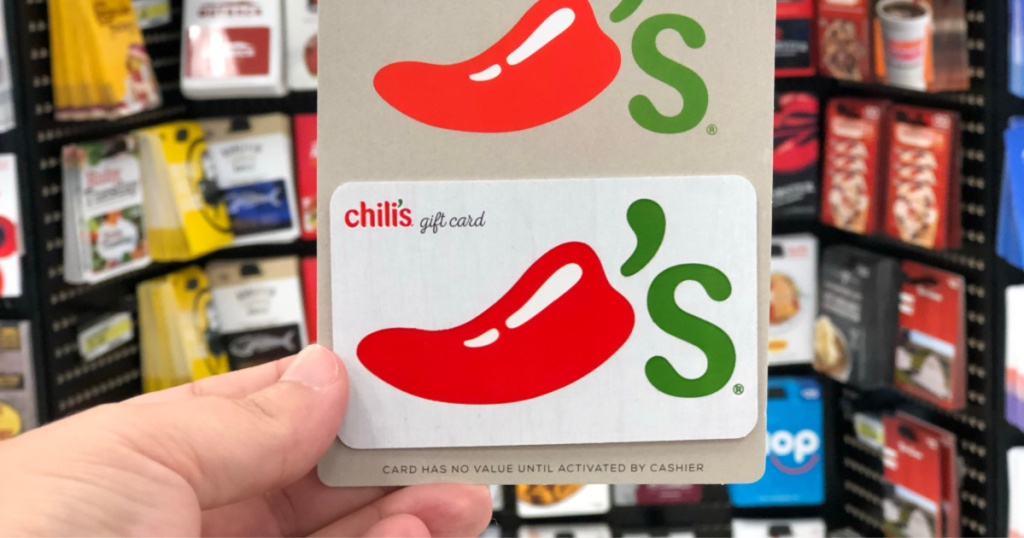 Chili's Gift Card being held by a woman's hand