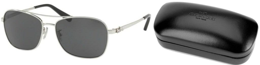 Sunglasses near Coach brand storage case