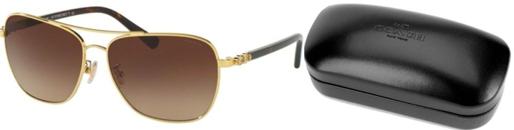 Women's navigator style sunglasses with golden rims near Coach brand case