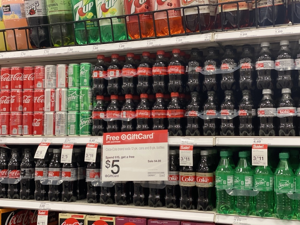 target shelf of Coca-Cola Bottles