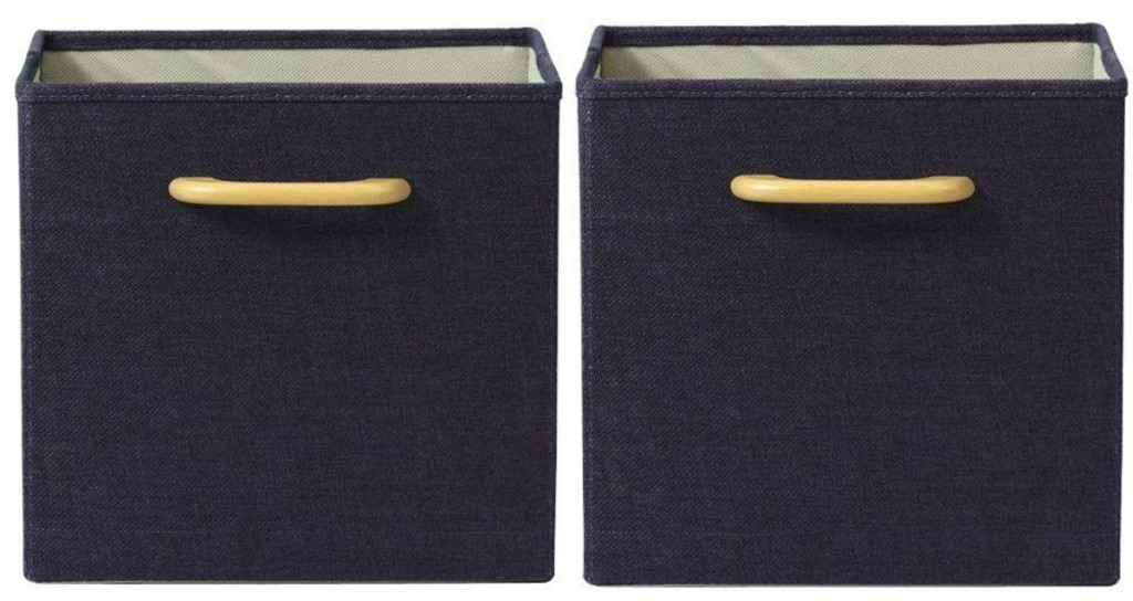 blue collapsible bins with wooden handles