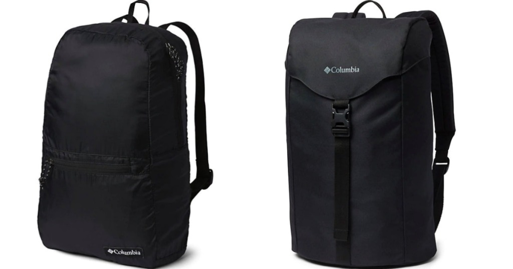 two black Columbia backpacks