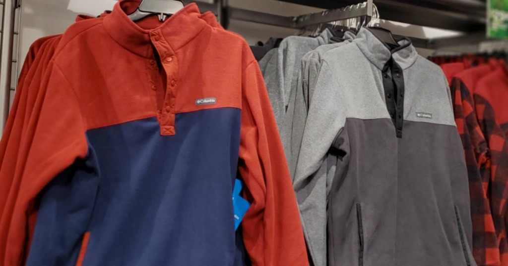 Columbia mens jackets on hangers at the store