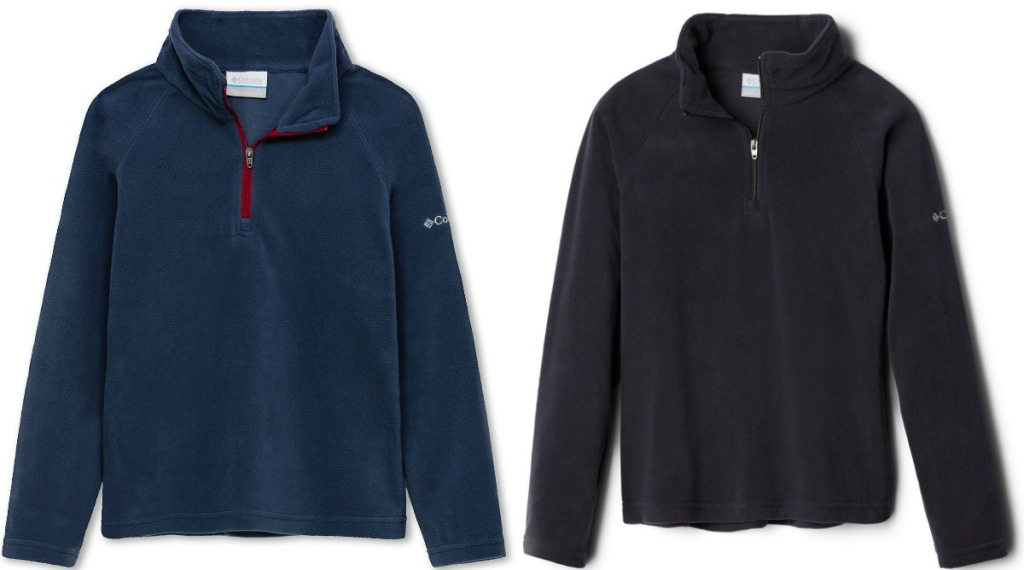 Two colors of kids fleece pullovers - black and blue