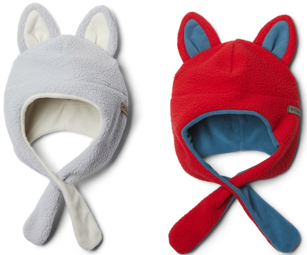 Two styles of winter hats for babies
