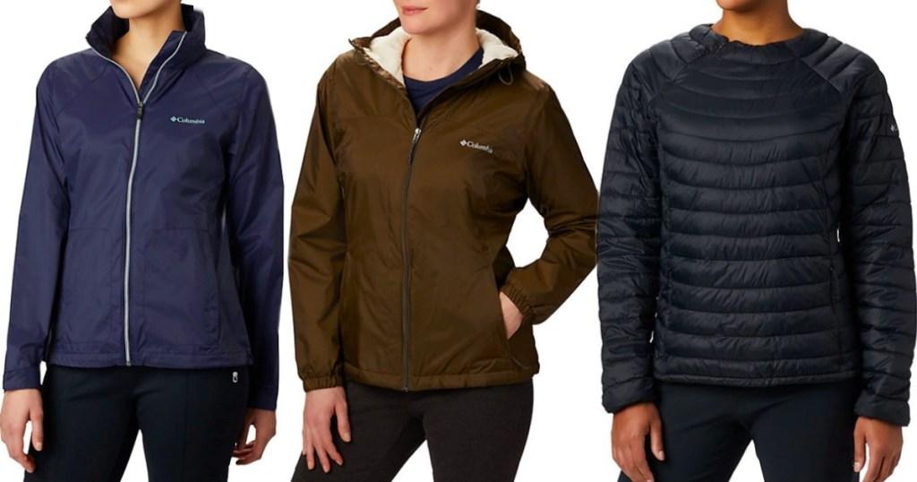 three women wearing Columbia jackets