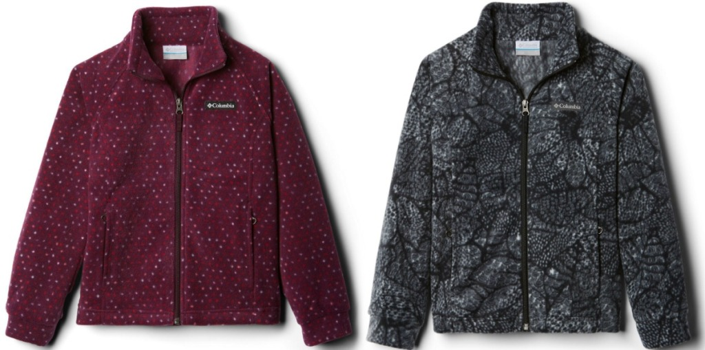Two styles of girls fleece jackets in two different prints
