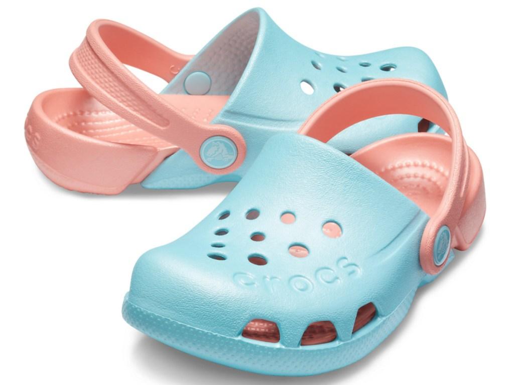 Kids blue and peach clogs
