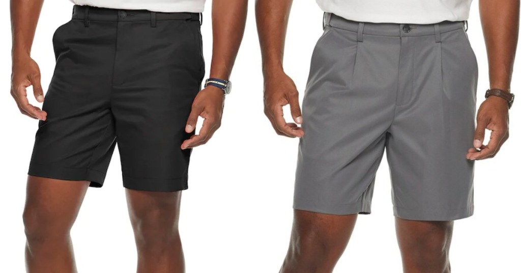 two men models wearing shorts