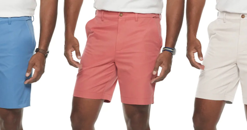 salmon, blue, and white croft and barrow shorts