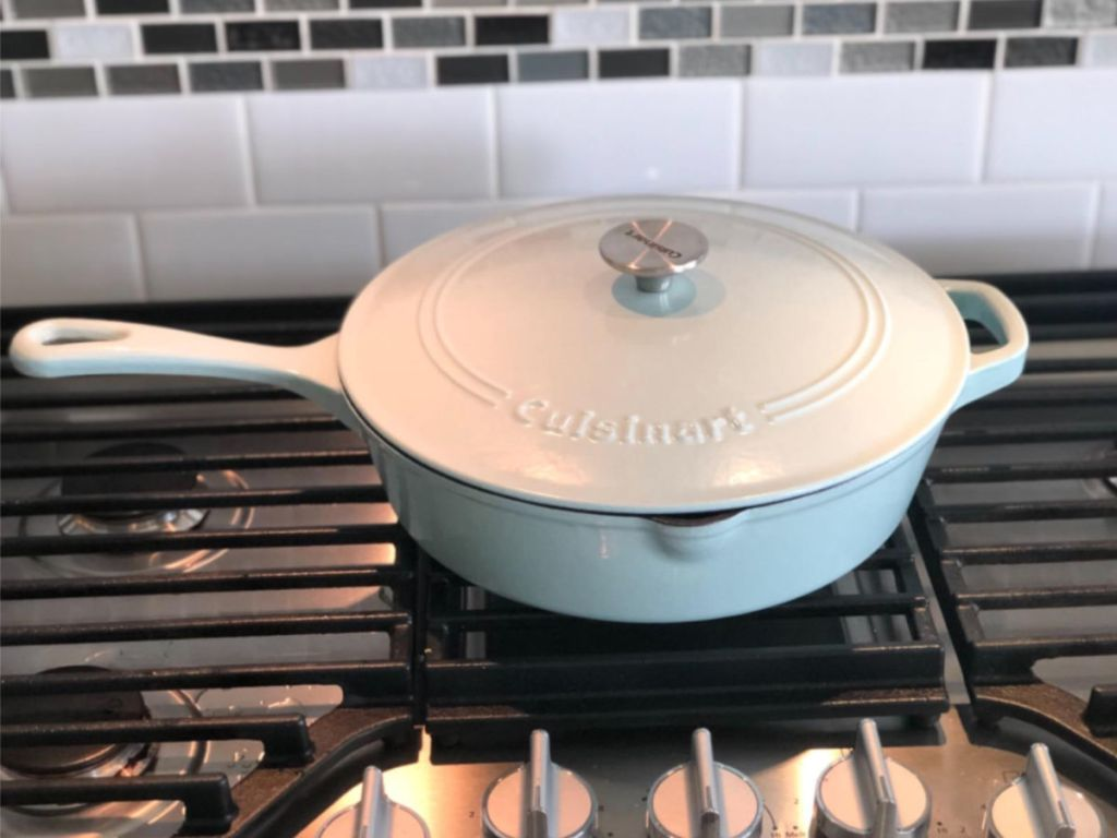 "Cuisinart 12"" Chicken Fryer Cast Iron in cream white on gas stove"