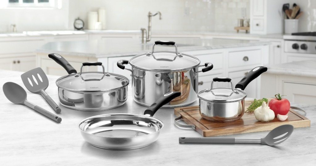 stainless steel cookware on kitchen counter