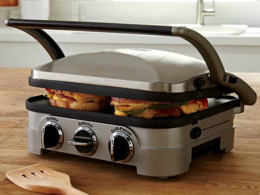 Griddler with Paninis inside cooking on counter top