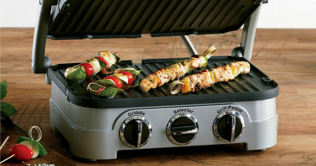 Indoor griddler with kebabs on the removable plates