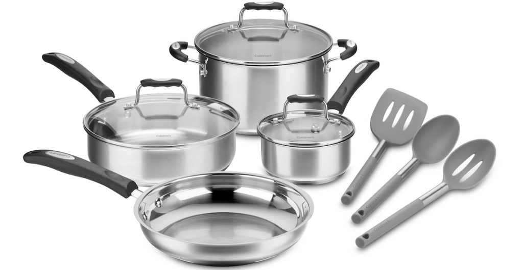 Cuisinart Stainless Steel Cookware Set next to stainless steel utensils