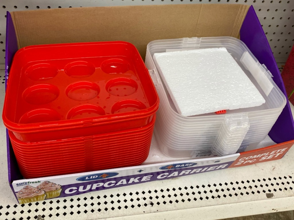 Cupcake Carrier Set on display in Dollar Tree