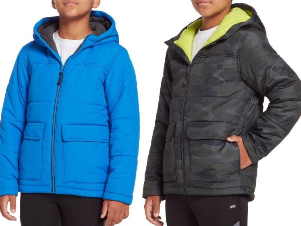 two boys torsos wearing winter jackets