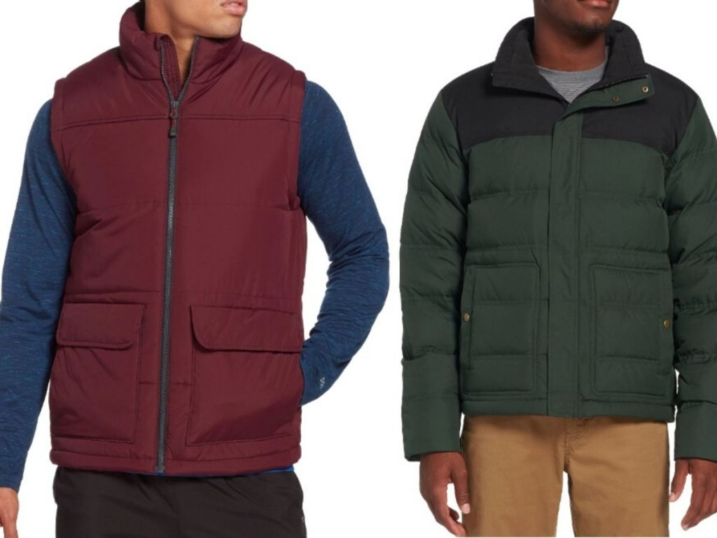 two men's tosos, one wearing a quilted puffer vest and the other wearing a quilted jacket