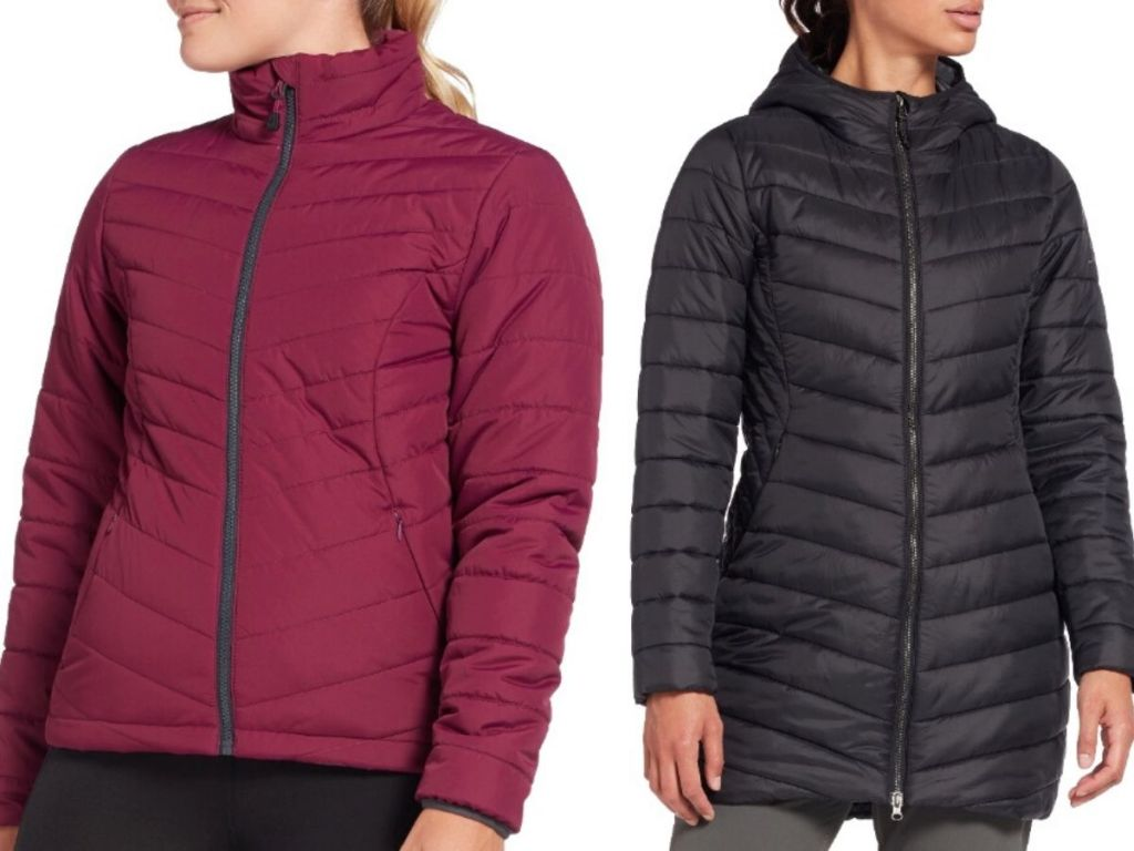 two women's torsos wearing quilted puffer jackets
