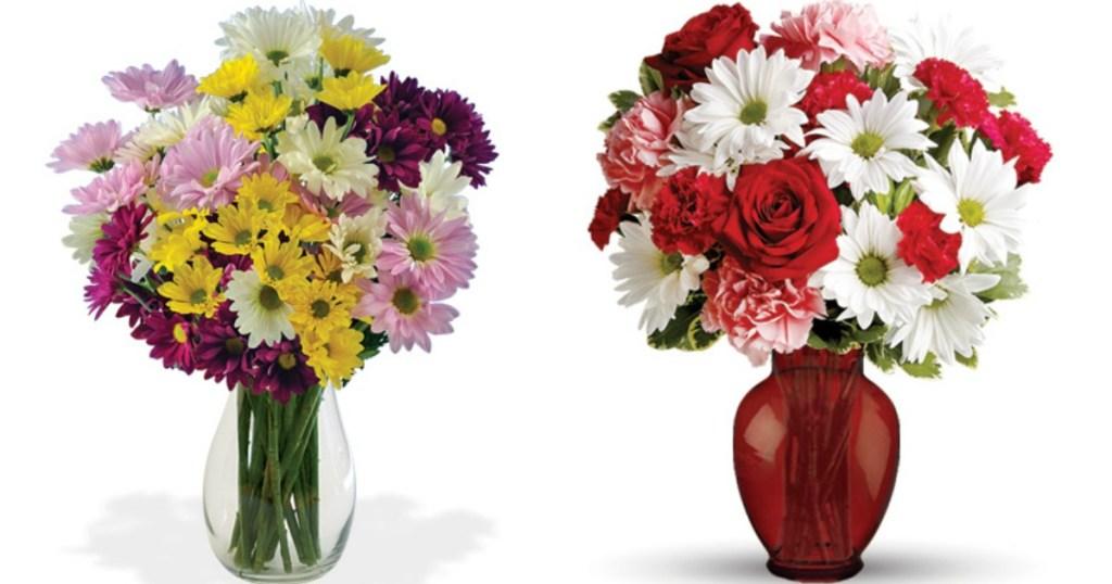 two flower arrangements in vases