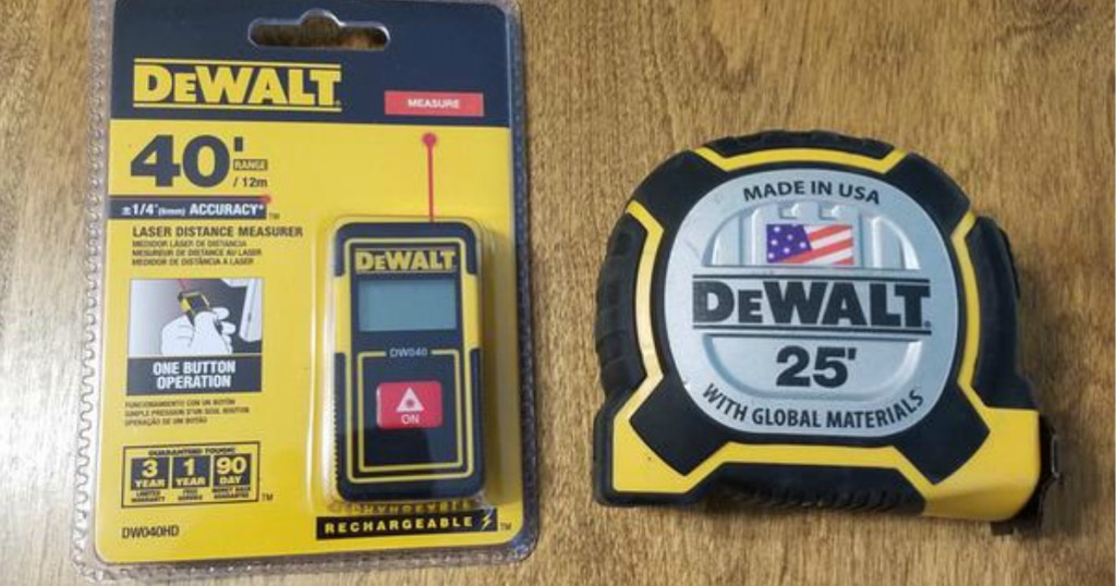Dewalt Measuring Tools on wooden background