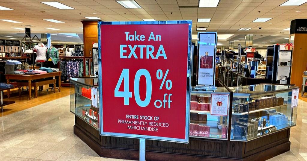 Dillards 40% off sale in store