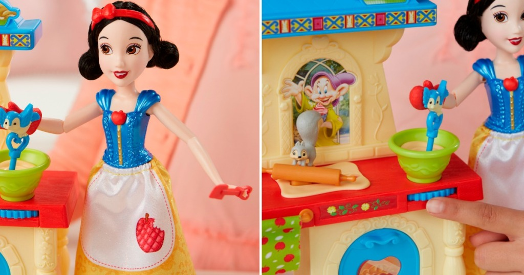 close up of snow white doll and playset