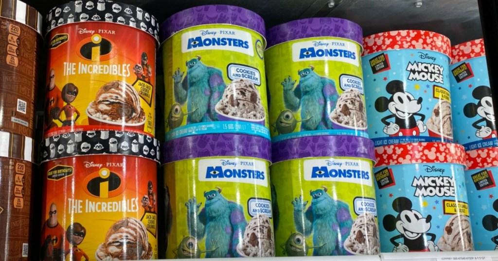 Disney and Pixar Ice Cream on shelf at a store