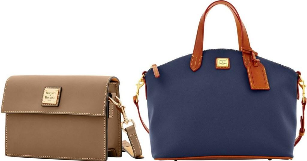 tan crossbody bag next to a blue satchel bag