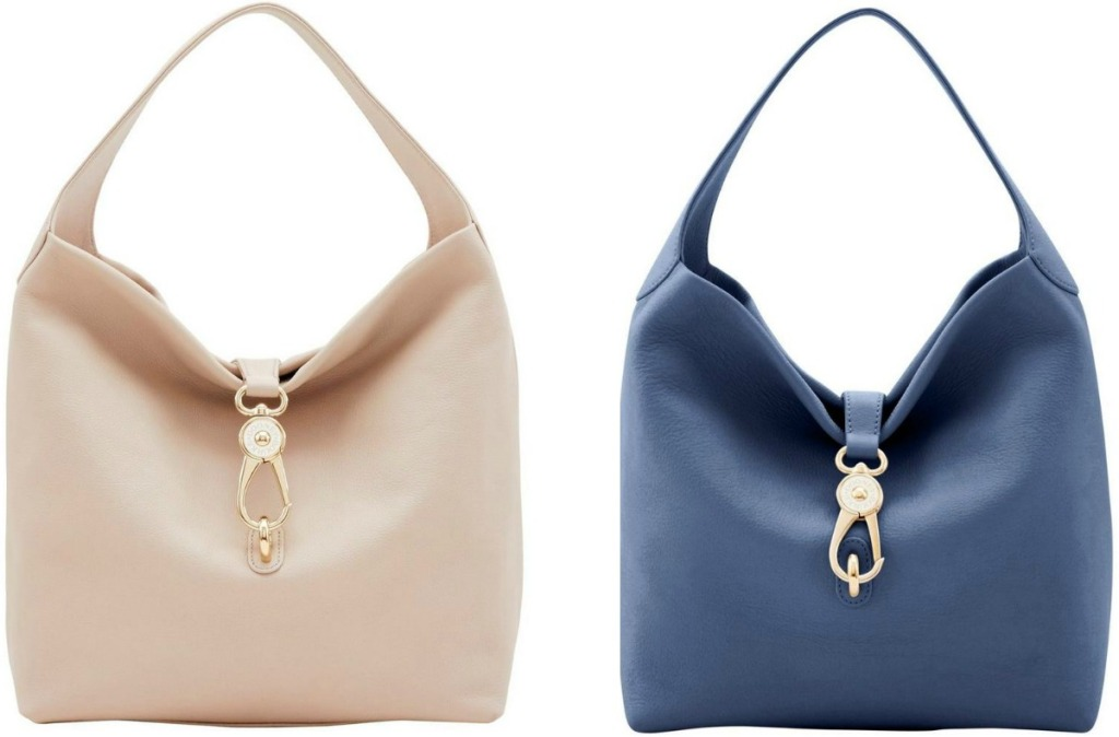 Two colors of women's large shoulder bag - ivory and blue