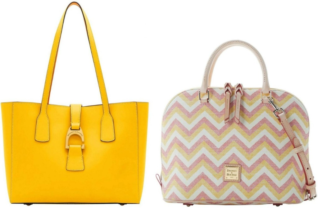Two styles of women's luxury handbags - tote and satchel