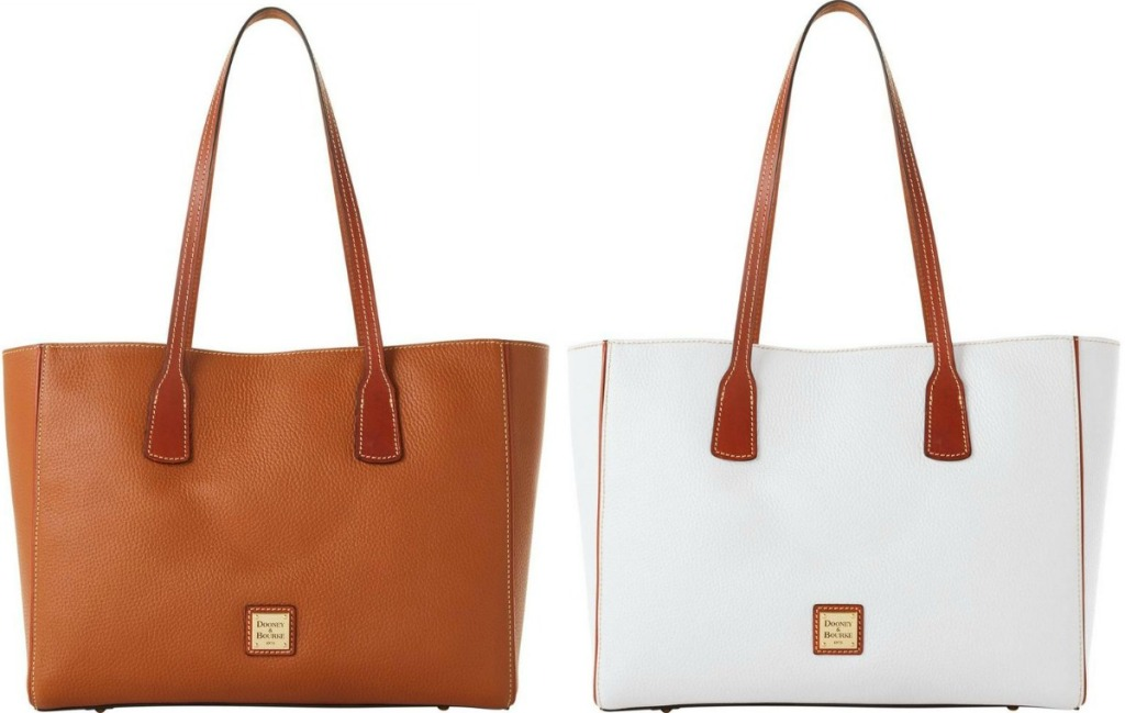 Two colors of a large Dooney & Bourke tote bag - brown and white