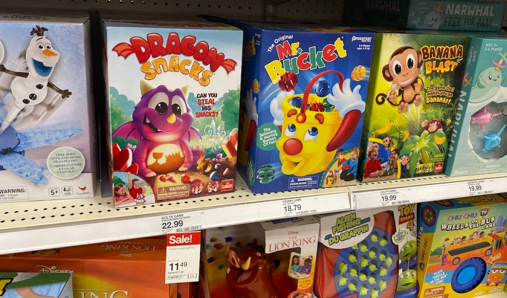 shelf of kids games at Target