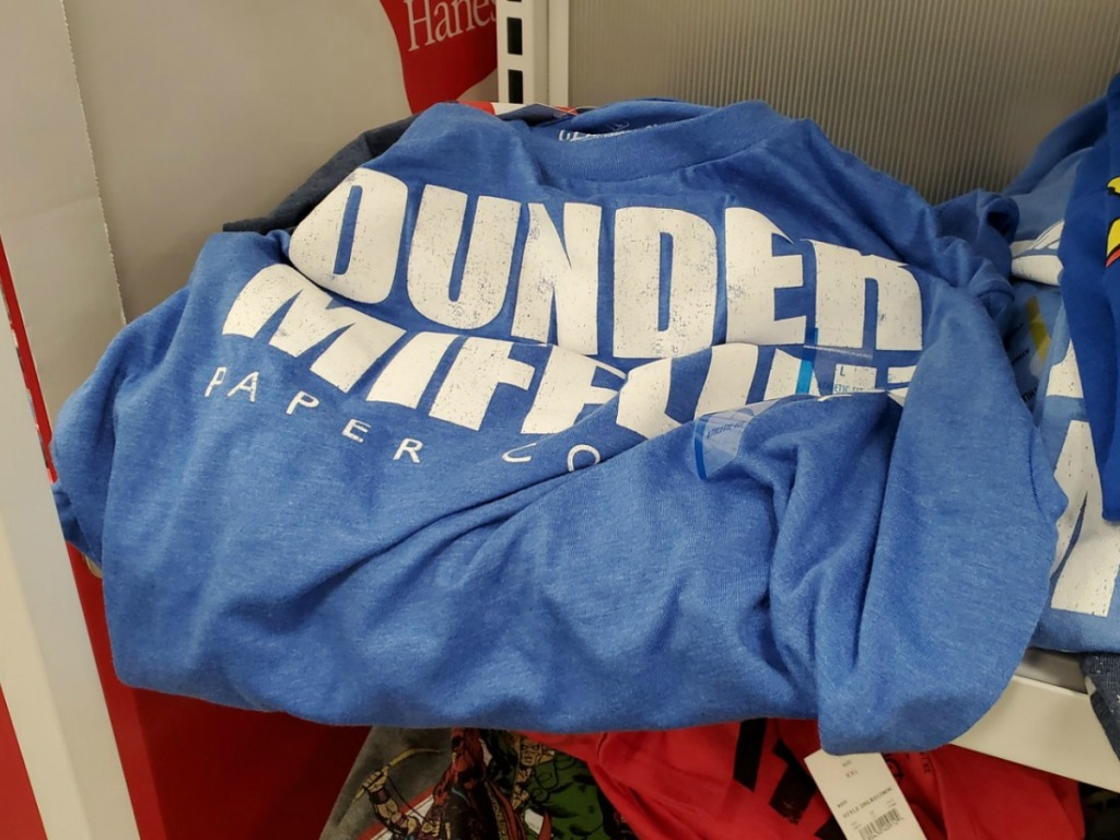 """Large blue graphic tee """"Dunder Mifflin"""" in white letters"""