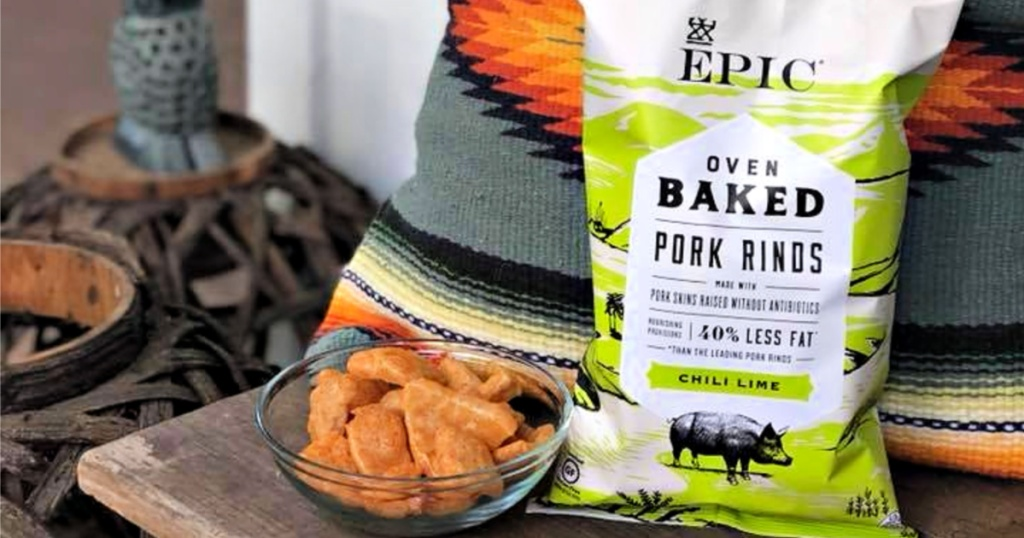 EPIC Chili Lime Pork rinds in glass bowl with bag next to it