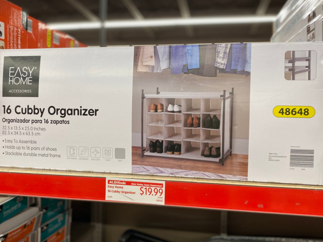 cubby organizer in box on store shelf