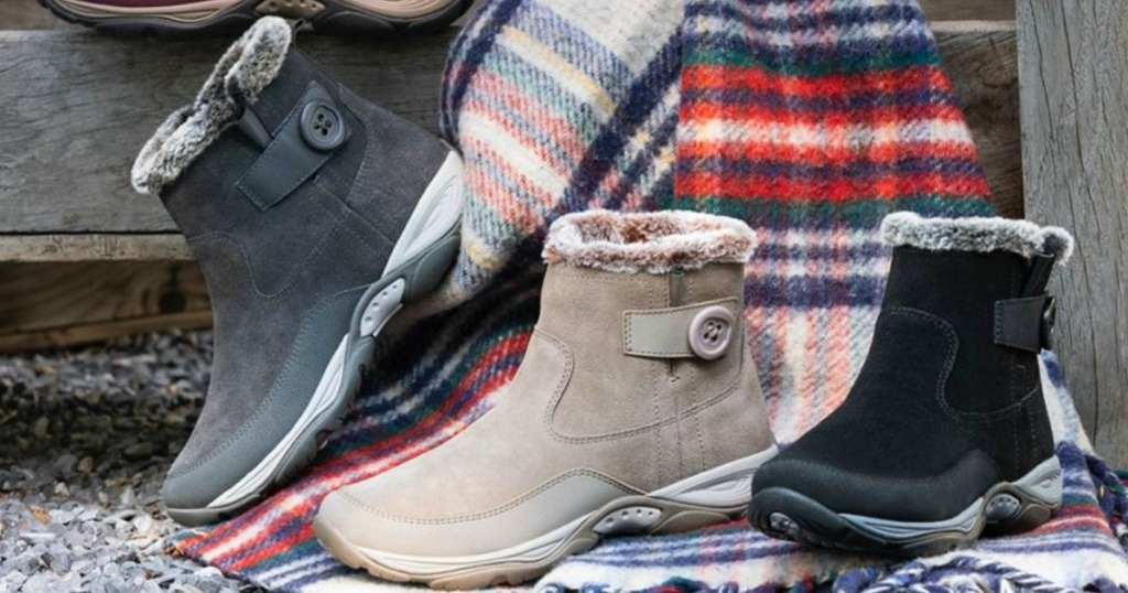 Easy Spirit Boots displayed together with throw blanket
