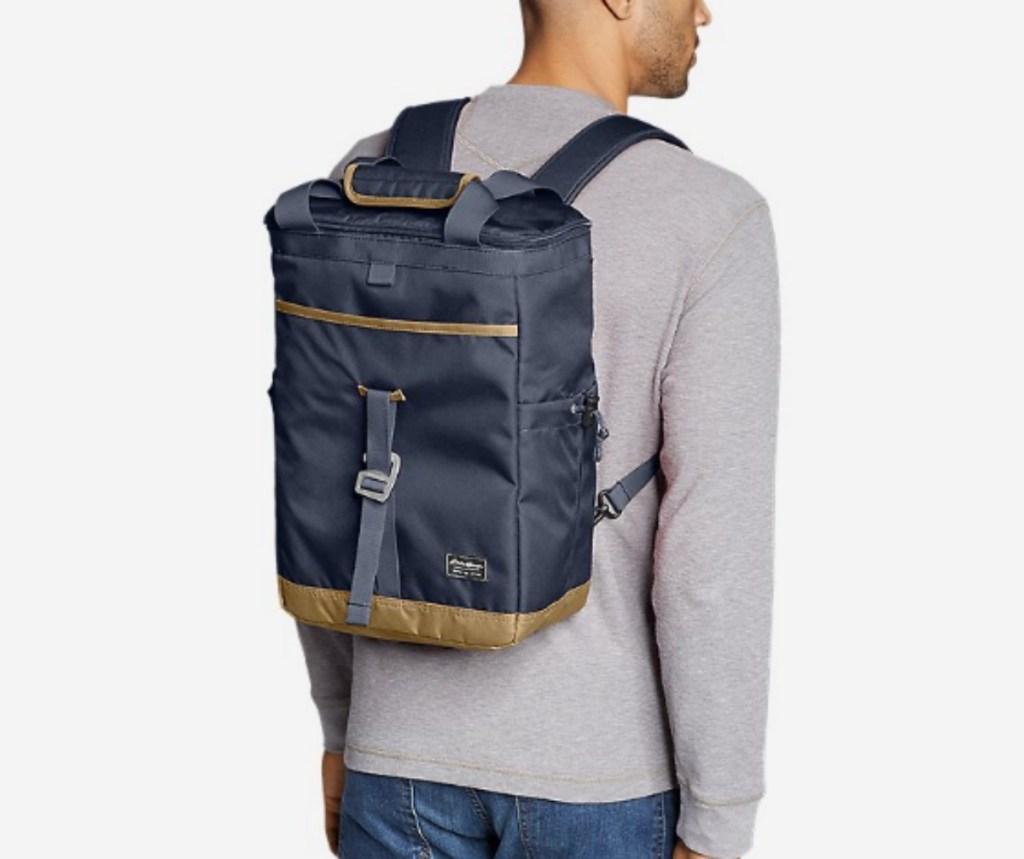 man wearing Eddie Bauer Bygone Backpack Cooler