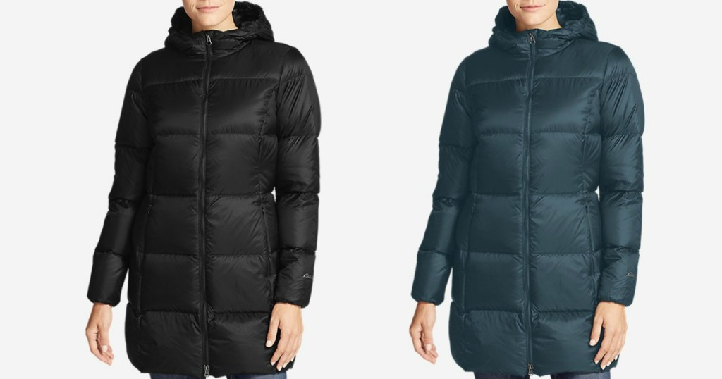 two images of a woman wearing a black and green parka