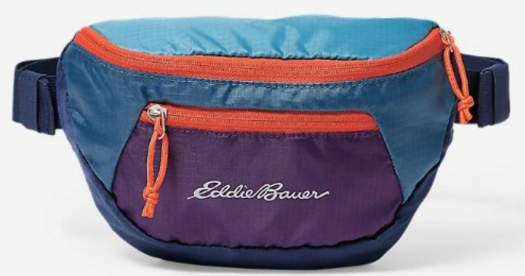 Eddie Bauer waistpack in purple blue and orange