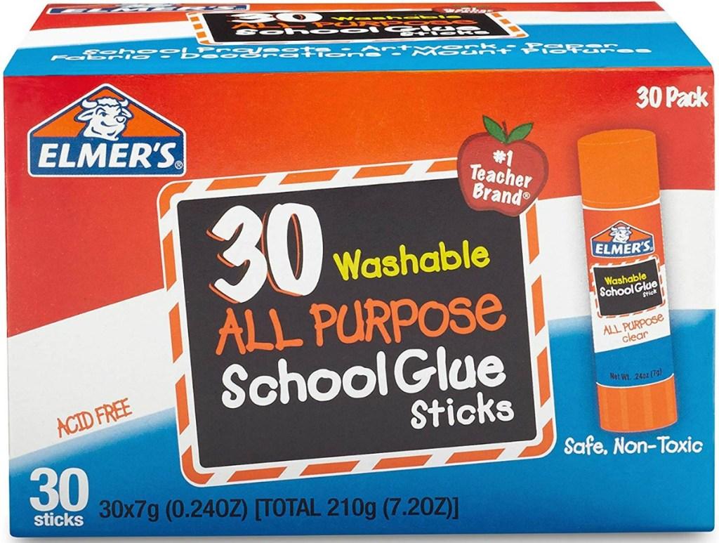 Extra large box of Elmer's school glue sticks