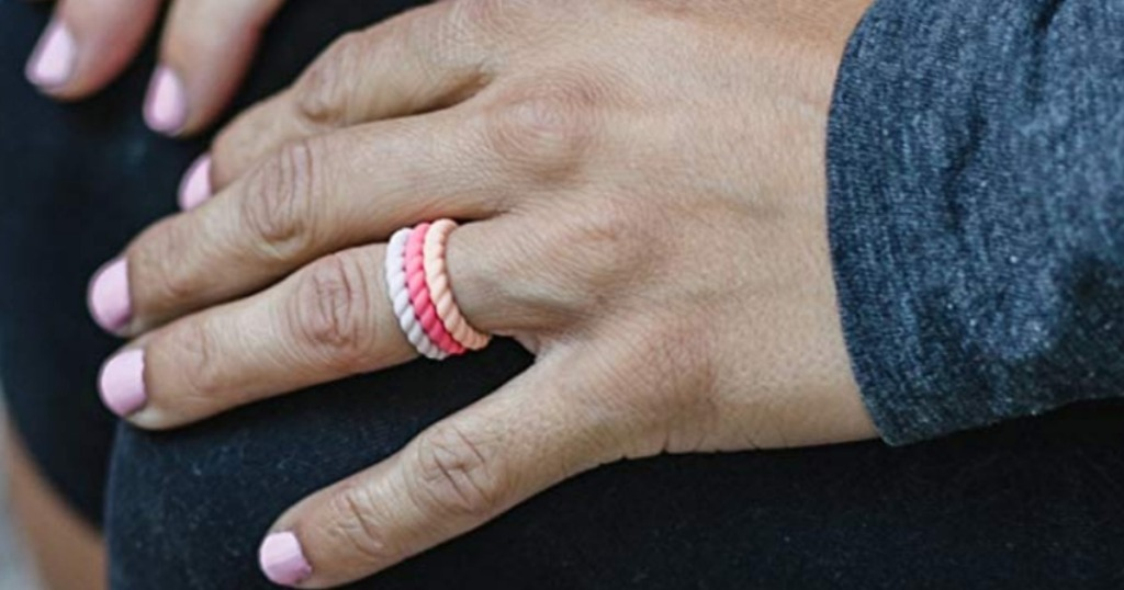 Woman wearing Enso stackable rings