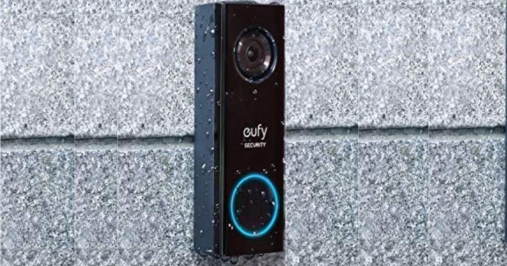 Eufy Security Wi-Fi Video Doorbell on brick wall