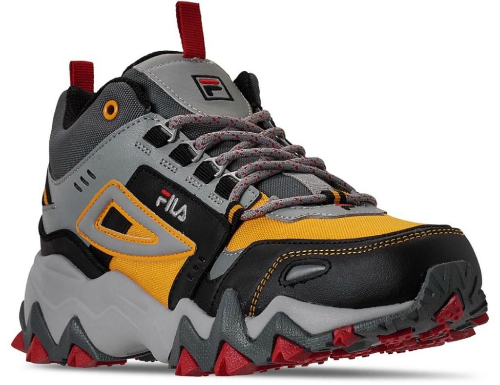 men's gray and yellow FILA hiking boot