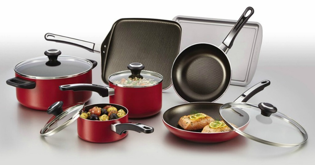 Large red and black non-stick cookware set