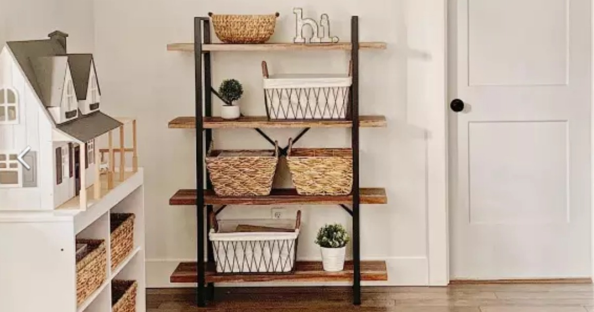 Large four-tier farmhouse style shelf with baskets